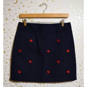 Vineyard Vines Navy Blue & Red Crab Skirt Size 4